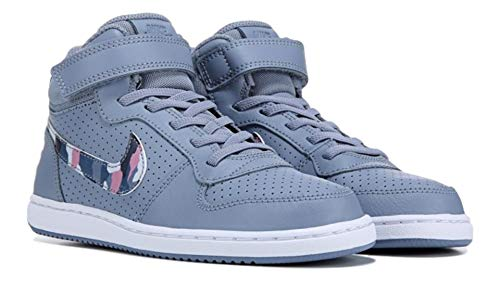 Nike Girl's Court Borough Mid (PSV), Ashen Slate/Multi-Color Size 11 C US (Nike Court Borough Girls Basketball Shoes Big Kids)