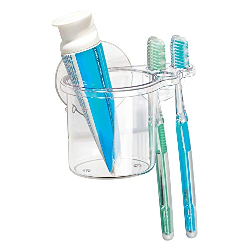 - InterDesign Bathroom Shower Suction Toothbrush and Toothpaste Holder - Clear