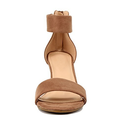 Guilty Shoes Womens Classic Comfort Sexy Open Toe Mid Heel Ankle Strap Dress Stiletto Heeled-Sandals, Dktaupe Suede, 6 by Guilty Shoes