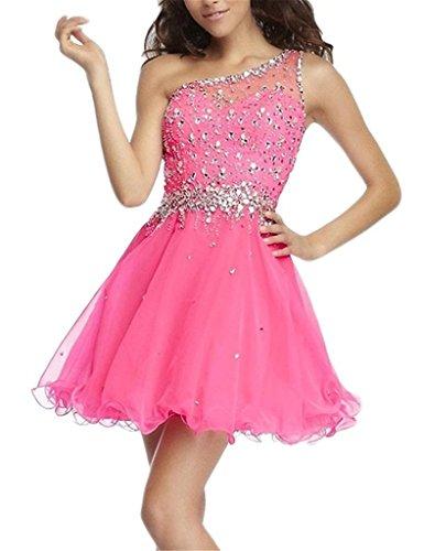 Charmant Damen Suessig Pink Ein-schulter Pailletten Steine Abendkleider Cocktailkleider Promkleider Partykleider Mini