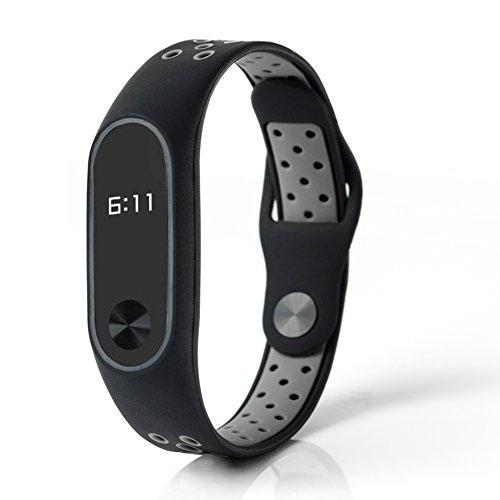 Budesi Waterproof Xiaomi Mi Fitness Tracker Bracelet Accessories/Xiaomi Mi Band 2 Replacement Wristband Band Strap+Metal Buckle (Black-Grey)