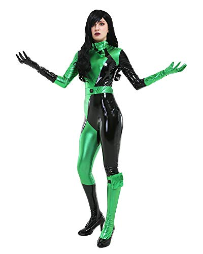 miccostumes Women's Villains Shego Cosplay Jumpsuit Deluxe Costume Halloween (XL, Green) -
