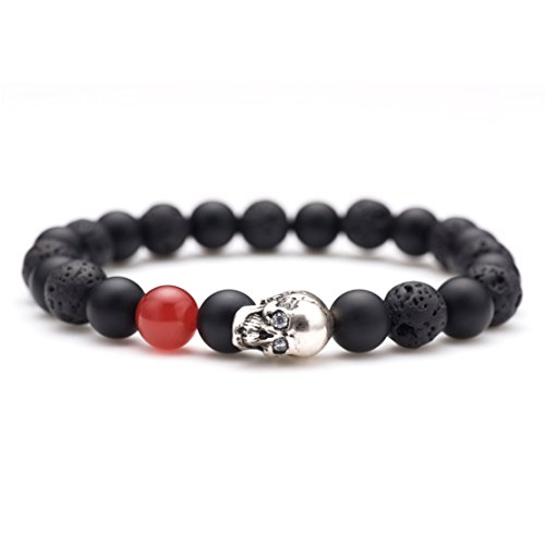 Karseer Black Matte Onyx and Lava Energy Stone Beaded Stretch Bracelet, Retro Silver Skull Gothic Punk Charm with Red Agate Emphasized Personality Bangle Jewelry Birthday Gift Unisex 7""
