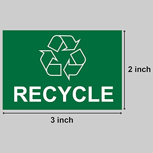 Recycle Logo Recycling with Arrows Symbol Labels Self Adhesive Stickers (Green White / 3