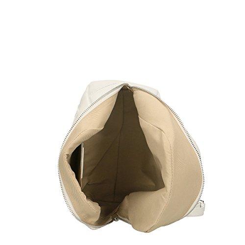 Chicca Borse Bolsa Mochila en Piel genuina 24x25x13 Cm Blanco