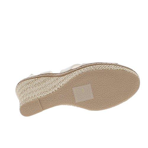 Blanco tacón cuña de cuero de sandalias 11 cm