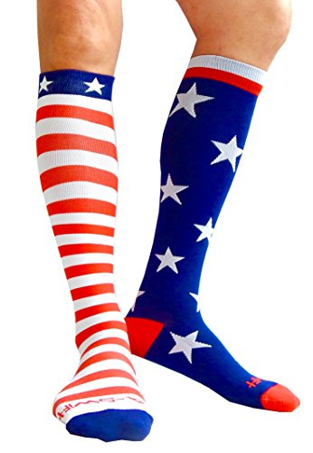 - Compression Socks (1 pair) for Women & Men by A-Swift (Stars & Stripes, S/M)