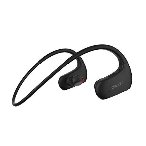 DACOM Bluetooth Headphones Sports Hi-Fi Deep Bass Wireless Earbuds, IPX7 Waterproof, HD Stereo in Ear Earphone, 8 Hour CVC6.0 Smart Noise Cancelling, Soft Ear Hooks for Gym Running Workout (Black)