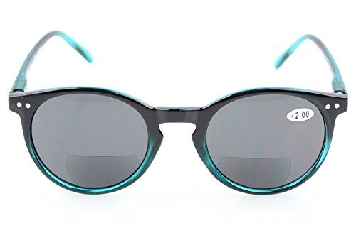 Spring-Hinged Round Bifocal Sunglasses Key Hole Style Bifocal Reading Glasses ()