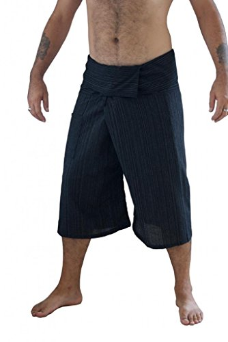 Siam Secrets 100% Cotton Pinstripe 3/4 Capri Thai Fisherman Pants Plus Black ()