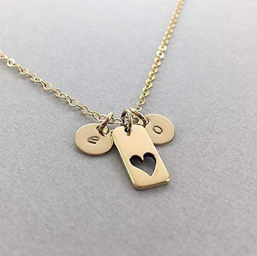 Mothers Initial Heart Necklace, 14k Gold Fill Gift for Mom, Cutout Heart Jewelry with Kids ()