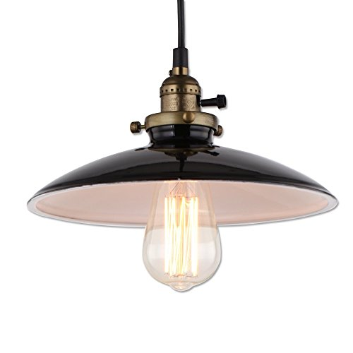 JEMMY HO Industrial Barn Pendant Lamp Dia 10 Inch Retro Mini Pendant Hanging Lighting (Black)