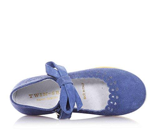 TWIN-SET - Blaue Ballerina aus Wildleder, mit Klettverschluss, Klettverschluss dekoriert mit Schleife, Mädchen