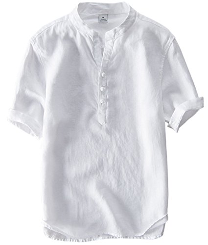 utcoco Men's Vintage Round Collar Chinese Style Henley Shirts Short Sleeve Tops (Small, White)