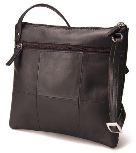 Visconti Atlantic Bolso al hombro / bandolera para mujer de cuero suave auténtico # 18608A - Marrón desgastado Negro