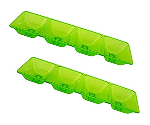 Party Essentials Hard Plastic 4-Compartment Rectangular Serving Trays, 5 x 16 Inches, Neon Green, - Light Green Bowl