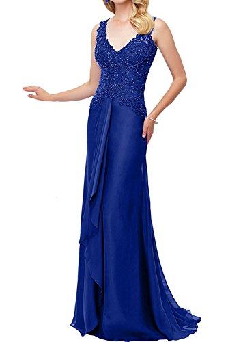 Brautmutterkleider Lang Abendkleider Blau V Chiffon La Ausschnitt Damen Rock Royal Ballkleider Braut Weinrot Marie Spitze x7wqTg8Z