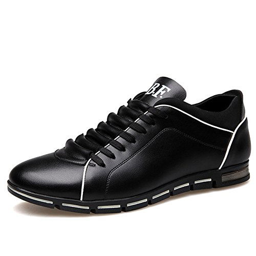 Casual Shoes Men Flat (Blivener Men's Fashion Sneakers Casual Breathable Flat Casual Oxford Shoes 03Black EU 43)