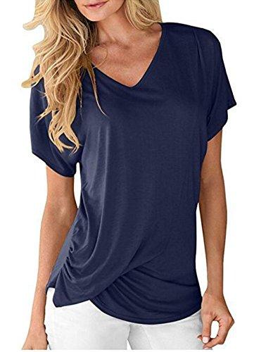 Bleu Tee Blouses Fit Mousseline en Chemise Lache T O Mesdames Soie Fashion Top Dcollet Fonc Dcontracte de Backless Shirts fq6Twx1F