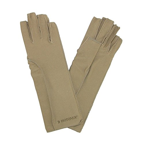 Isotoner Therapeutic Compression Fingerless Gloves, Xsmall, Camel Tan