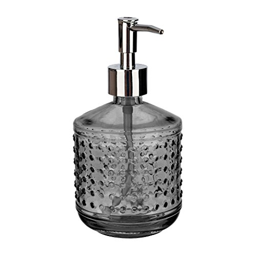Rail19 Hobnail Green Glass Liquid Hand Soap Dispenser Pump for The Kitchen and Bathroom Sink - Great for Dish Soap, Hand Soap and Hand Lotion + Essential Oils and Bath Products (Drippy Black-Grey) -