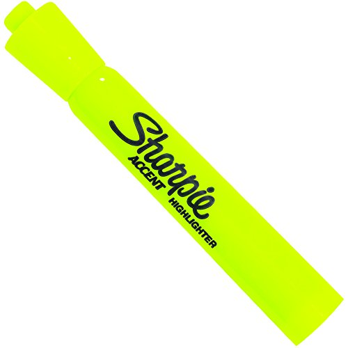 BOX USA BPMK601FYE 1 Sharpie Accent Highlighters, Fluorescent Yellow (Pack of 12) by BOX USA (Image #1)