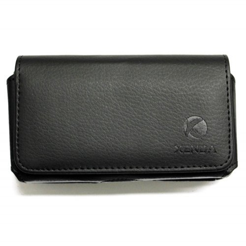 Premium Black Horizontal Soft Leather Side Pouch Cover Carrying Phone Case Holster Sleeve with Swivel Belt Clip and Loops for Boost Mobile LG Venice / ZTE Warp Sequent - MetroPCS Huawei Valiant / Huawei Vitria / LG Optimus Exceed 2 / LG Optimus L70 / ZTE Concord 2 - Lg Venice Phone Case Black