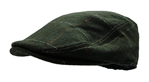 Men's Herringbone Wool Tweed Newsboy Ivy Cabbie Driving Hat (Plaid (Plaid Wool Tweed)