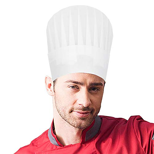 48 Pcs Disposable Chef Hats White Tall Kitchen Cooking Chef Cap for Adults Party Supplies Paper High]()