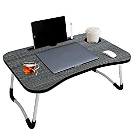 4mura Smart Multipurpose Foldable Laptop Table with Cup Holder, Study Table, Bed Table, Breakfast Table, Foldable and Portable/Ergonomic & Rounded Edges/Non-Slip Legs(black)