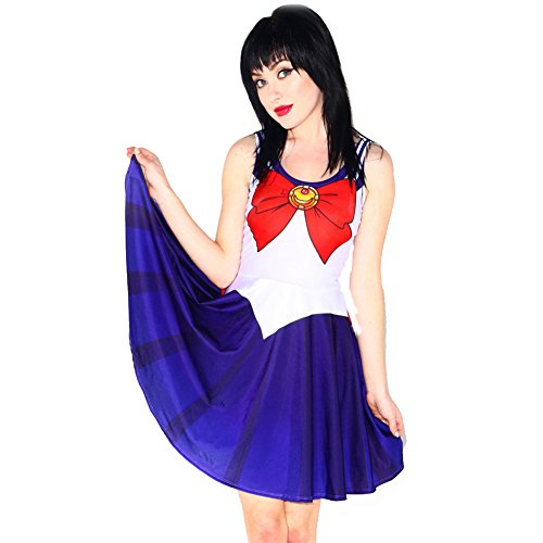 [Aoibox Women's Cosplay Sailor Moon Uniform Skater Dress Skirt Sailor Moon, One Size, Sailor Moon] (Sailor Saturn Costume)