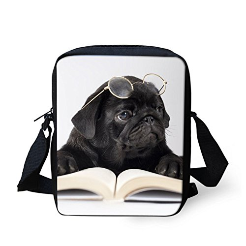 Chaqlin Sac Bandoulière Pug Bulldog marron Black xx6Hw