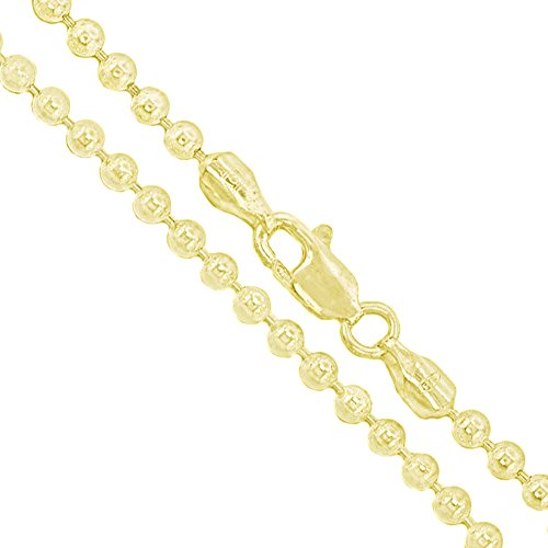 22k Yellow Gold Plated Sterling Silver Ball Bead Chain 3mm 925 New Dog Tag Necklace (Gold Plated Ball Chain)