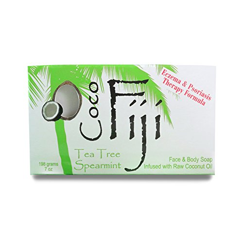 Coco Fiji Coconut Oil Organic Soap Moisturizing Face and Body Soap Bar Tea Tree Spearmint 7 Ounce