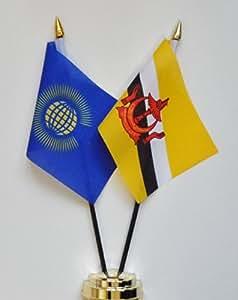 """Commonwealth y Brunei amistad Bandera de mesa pantalla 25cm (10"""")"""