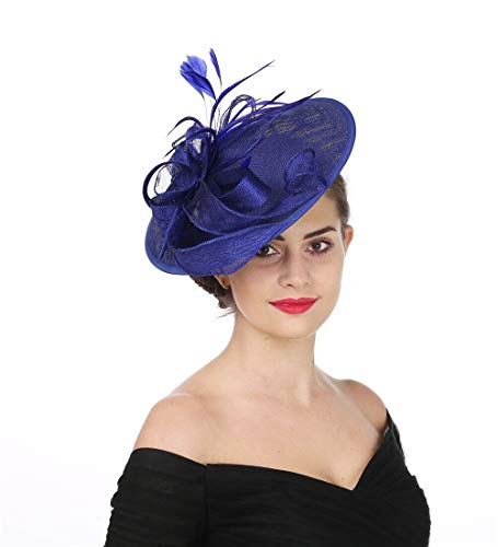 SAFERIN Fascinators Hat Sinamay Flower Mesh Feathers on a Headband and a Clip Tea Party Headwear for Girls and Women (TA9-Sapphire Blue)