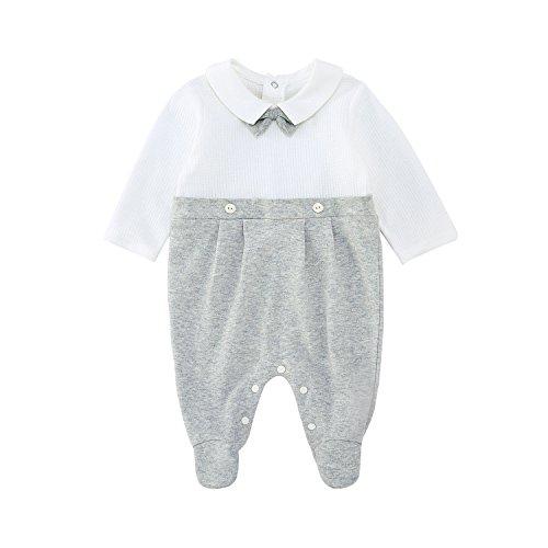 pureborn Baby Boys Romper Onesies Gentelman Footies Newborn Cotton Long Sleeve Jumpsuits Bodysuits Outfits Gray 3-6 Months -