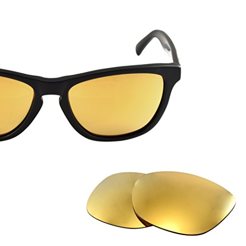 LenzFlip Replacement Lenses for Oakley FROGSKIN Sunglasses - 24K Gold Mirror Polarized - Wafers Sunglasses