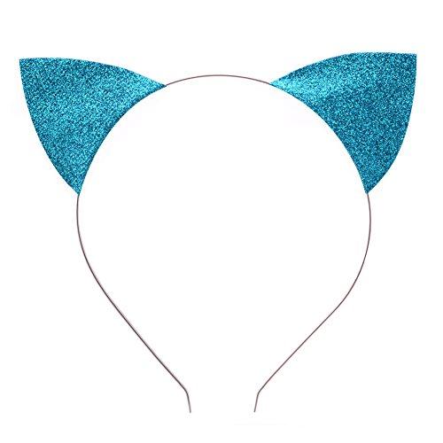 BAOBAO Glitter Cat Ears Baby Girls Kids Toddler Headband Hairband Hair Hoop Cosplay(Blue)]()