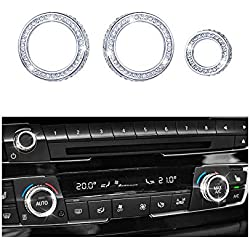 1797 Compatible AC Knob Caps for BMW Accessories Parts Air Conditioning Covers Decal Bling Interior Decorations 2 3 4 Series X3 X4 X5 X6 F30 F31 F15 F16 G01 F82 F83 iDrive AWD Women Men Crystal Silver