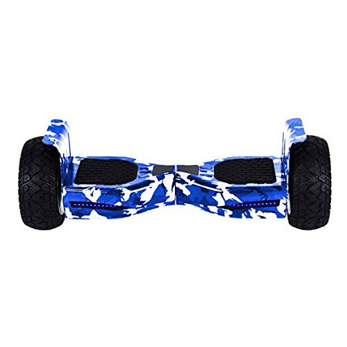 All Terrain Black Rugged 8.5 Inch Wheels Hoverboard Off-Road Smart Self Balancing Electric Scooter With built-In Bluetooth Speaker LED Lights UL2272 Certified (Camo Blue)