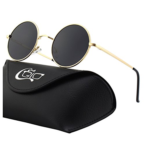 CGID E01 Large Retro Vintage Style John Lennon Inspired Circular Circle Metal Rimmed Round Polarized Sunglasses Goggles Shades for Women and Men with Gift ()