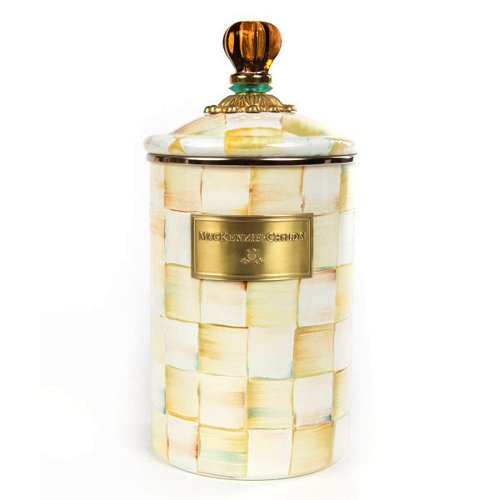 MacKenzie-Childs Enamel Parchment Check Canister Large by MacKenzie-Childs