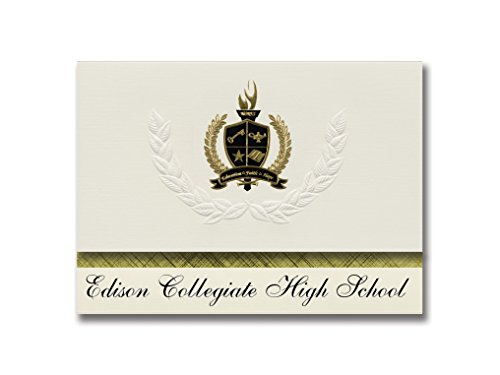 Signature Announcements Edison Collegiate High School (Fort Myers, FL) Graduation Announcements, Presidential style, Basic package of 25 with Gold & Black Metallic Foil - Myers Fort Edison
