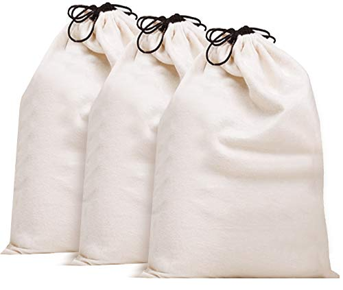 Misslo Cotton Breathable Dust-proof Drawstring Storage Pouch Bag (Pack 3 L) (Purse Cover Bags)