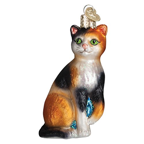 Christmas Five Golden Rings Bell - Old World Glass Blown Ornament with Box, Cat Collection (Calico Cat)
