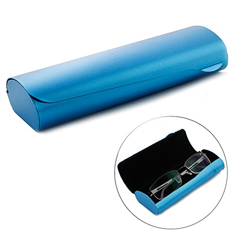 EZESO Aluminum Eyeglasses Case Hard Shell Matte Metal Frosted Spectacles for Medium and Large Frames (Blue)