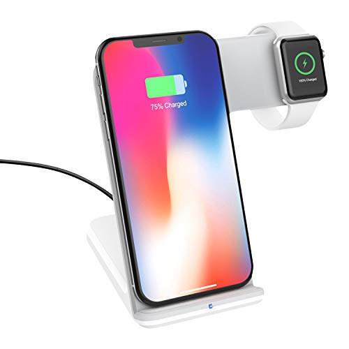 MoKo Fast Qi Wireless Charger Stand (Not Included Adapter), 2 in 1 Fast Charging Dock Fit iWatch Series 2/3 (Not Fit Series 4), iPhone Xs/XR/XS MAX/X, Samsung Galaxy S10/S10+/S10e/S9/S9+ - White