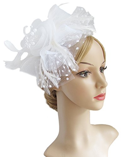 Flower Cocktail Tea Party Headwear Feather Fascinators Top Hat for Girls and Women (White)