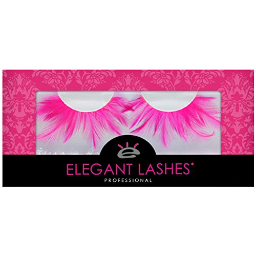 Elegant Lashes F402 Premium Pink Feather False Eyelashes Halloween Dance Rave Costume